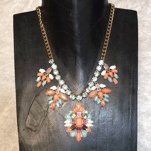 CARA statement necklace teal coral white